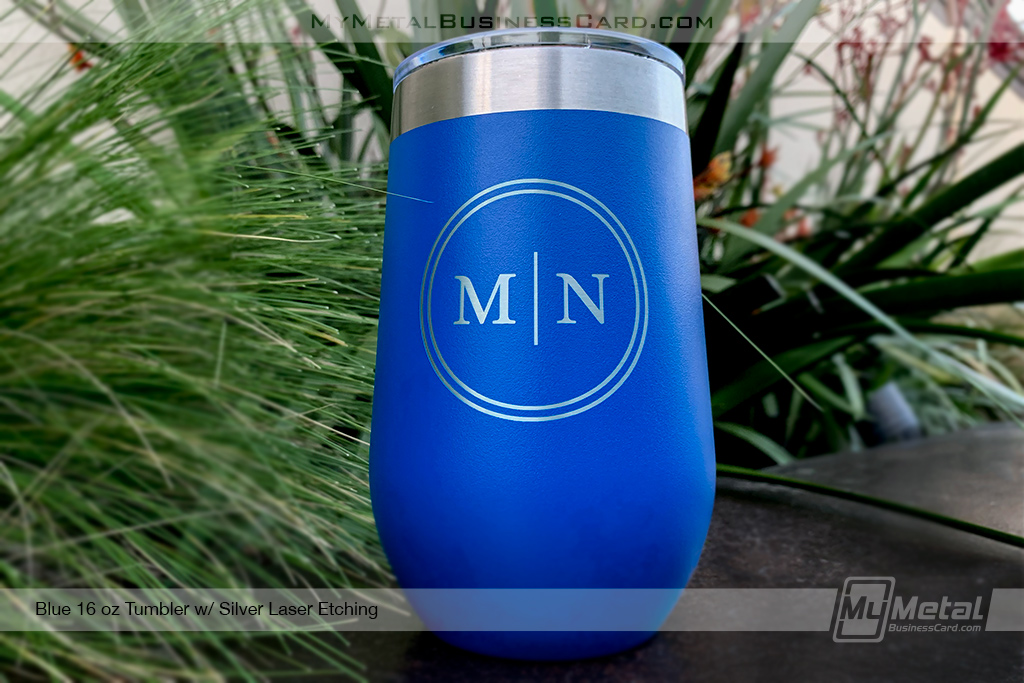 Blue-Metal-16-oz-Tumbler-Wine-With-Etched-Custom-Initial-Logo