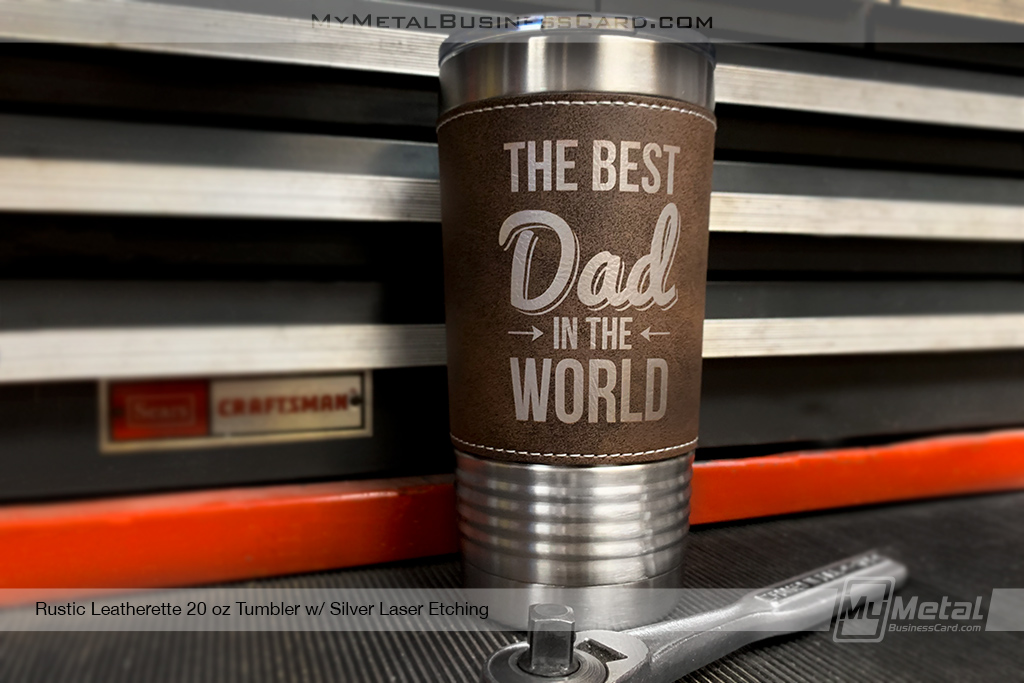 Rustic-Brown-Leatherette-Metal-20-oz-Tumbler-With-Custom-Lasered-Logo-For-Dad