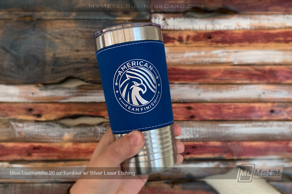Blue-Leatherette-Metal-20-oz-Tumbler-Etched-To-Order-With-Your-Logo