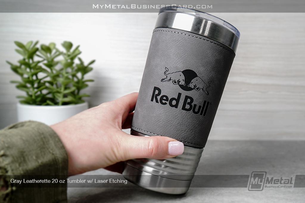 Gray-Leatherette-Metal-20-oz-Tumbler-With-Custom-Laser-Engraved-Logo