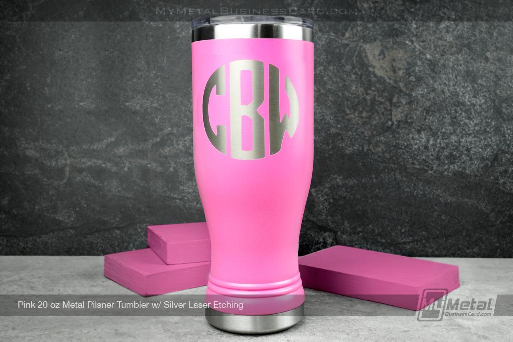 Pink-Metal-20oz-Pislner-Silver-Laser-Etching-Monogram-Logo