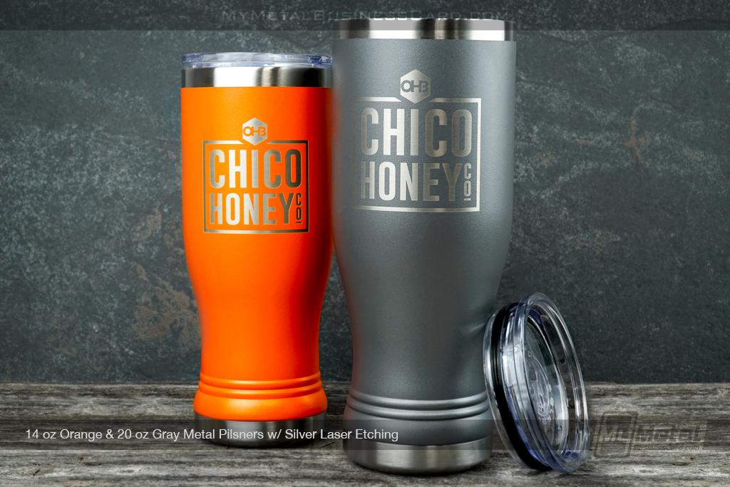 Gray-Orange-Metal-20oz-Pislner-Silver-Laser-Etching-Chico-Honey