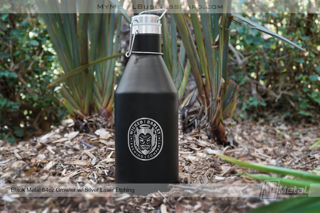 Black-Metal-64-oz-Insulated-Growler-For-Brewery-With-Custom-Laser-Etched-Logo