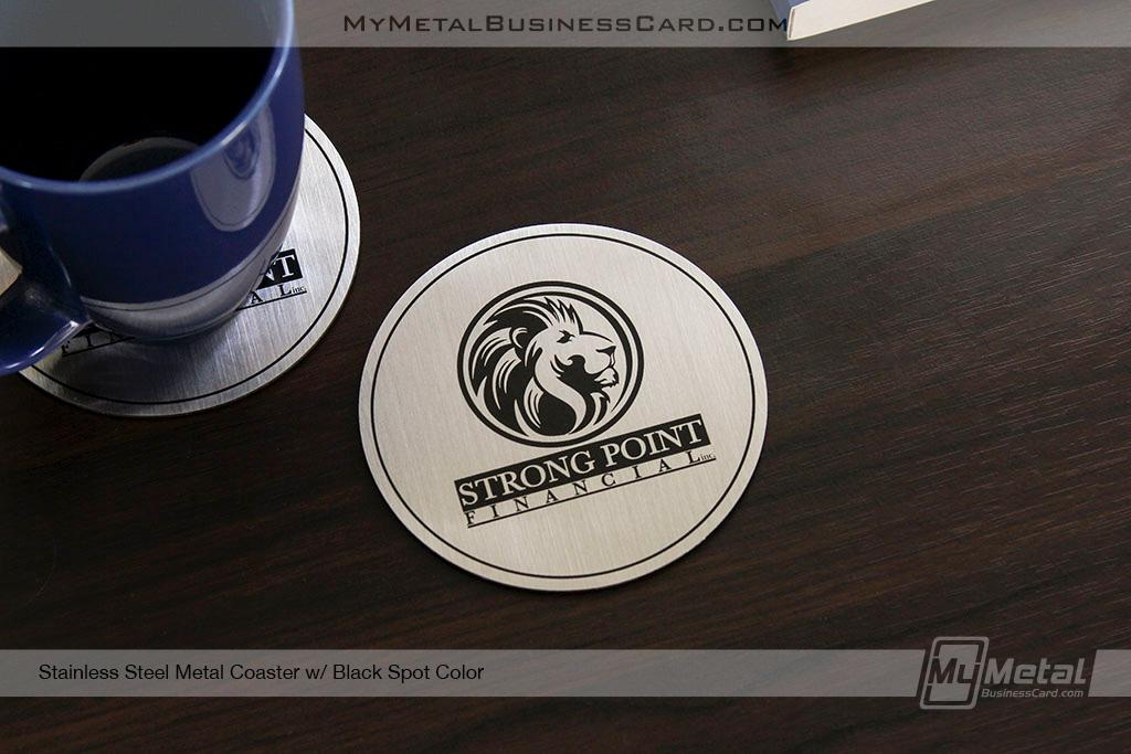 Brushed-Stainless-Steel-Metal-Coaster-Black-Screen-Print-Color