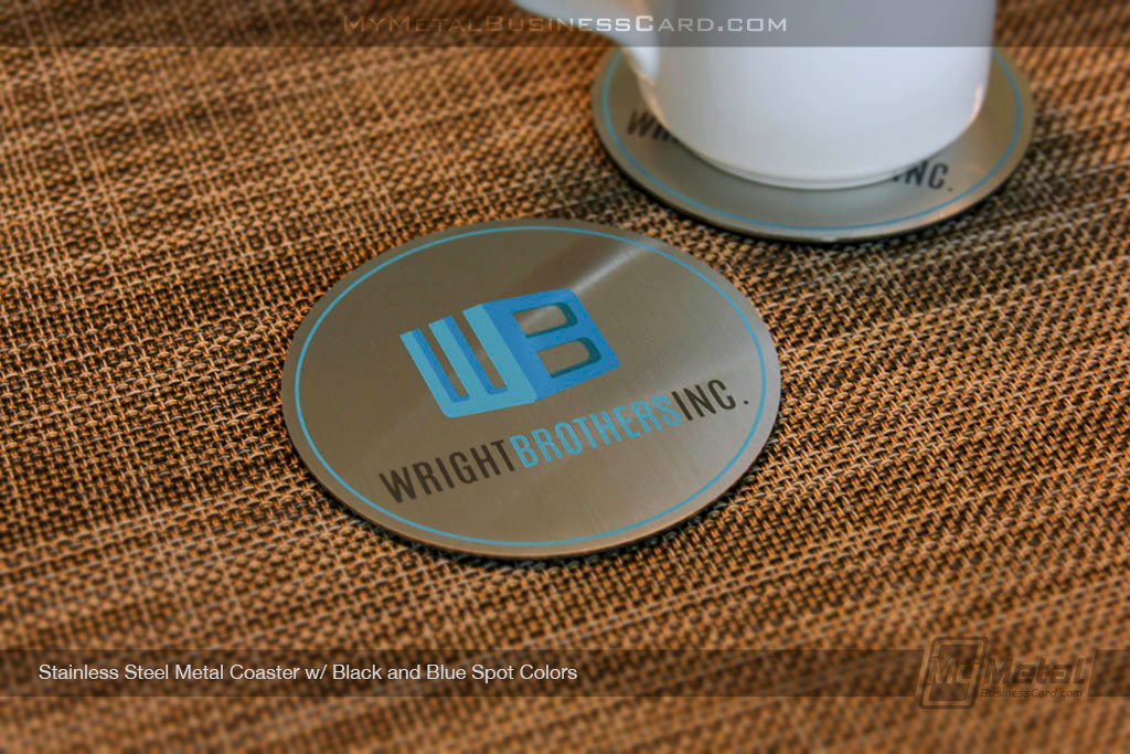 Brushed-Stainless-Steel-Metal-Coaster-With_Blue-Screen-Print-Color