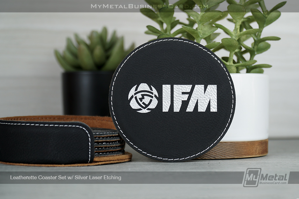 Black-Leatherette-Coaster-Set-Custom-Etched-With-Your-Logo