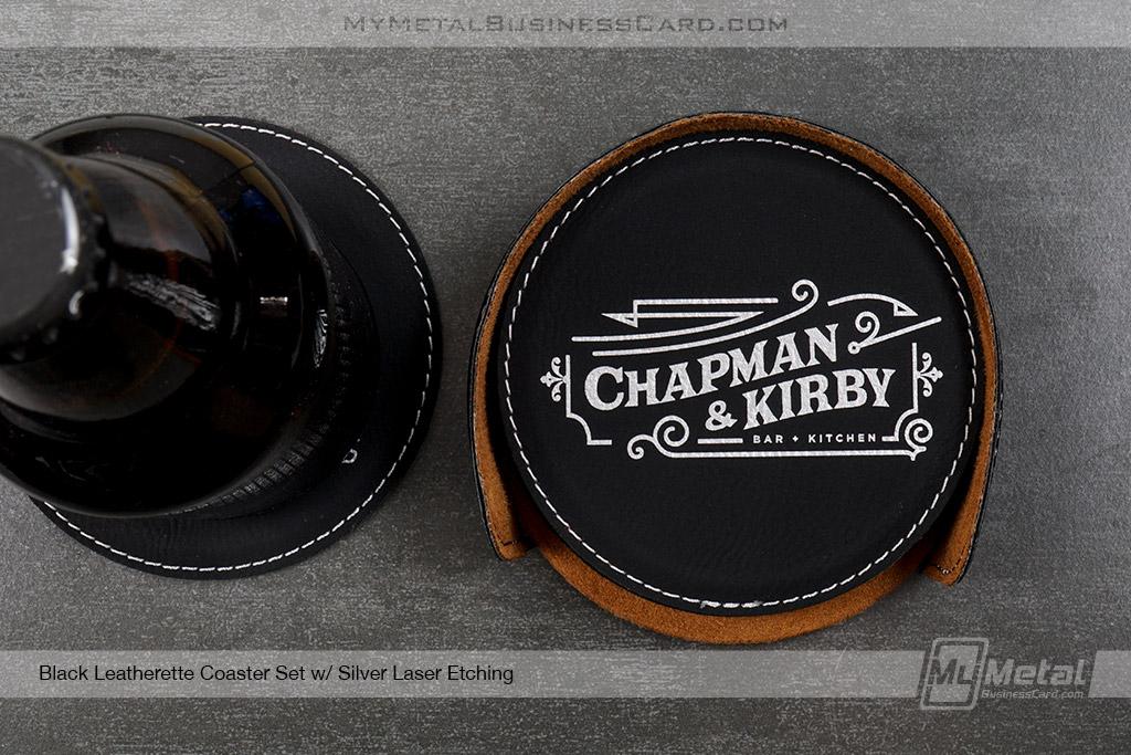 Black-Leatherette-Coaster-Set-For-Bar