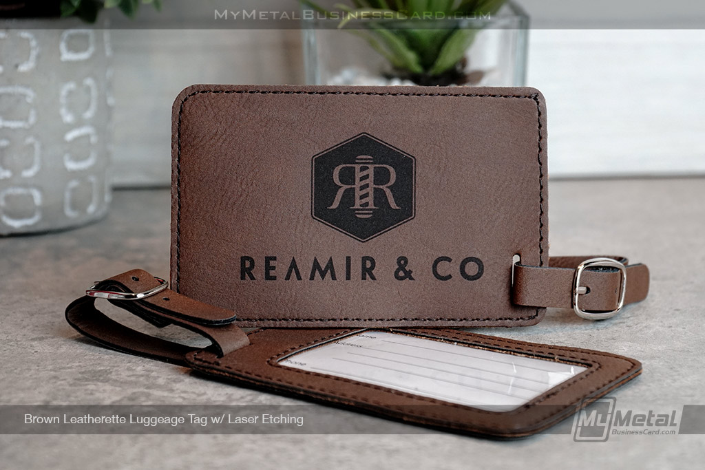 Brown-Leatherette-Luggage-Tag-with-Custom-Laser-Etched-Barber-Logo