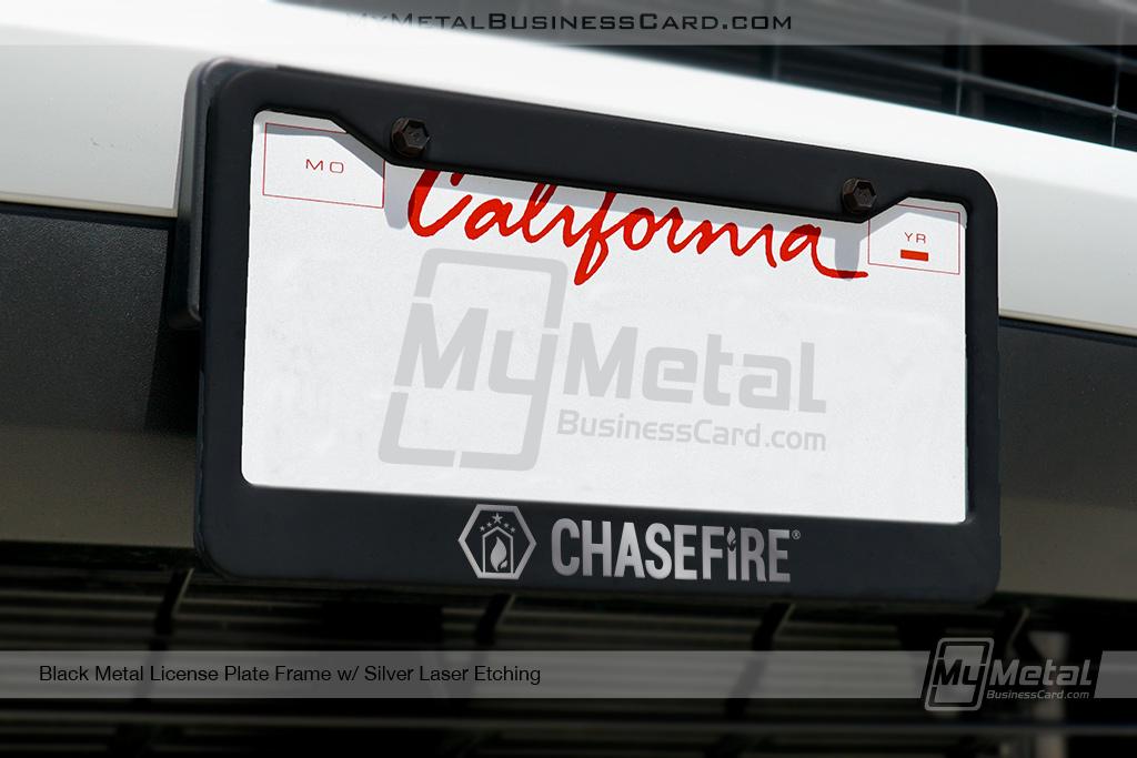 License-Plate-Frame-Black-Metal-Laser-Etched-With-Custom-Logo