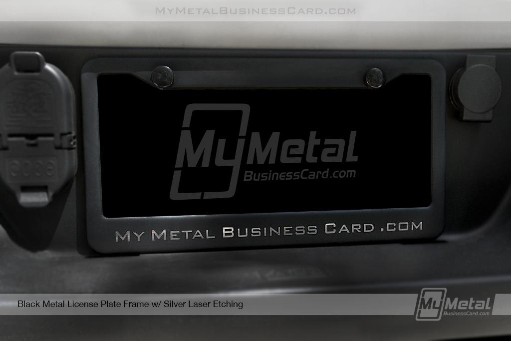 License-Plate-Frame-Black-Metal-Laser-Etched-My-Metal-Business-Card-Logo