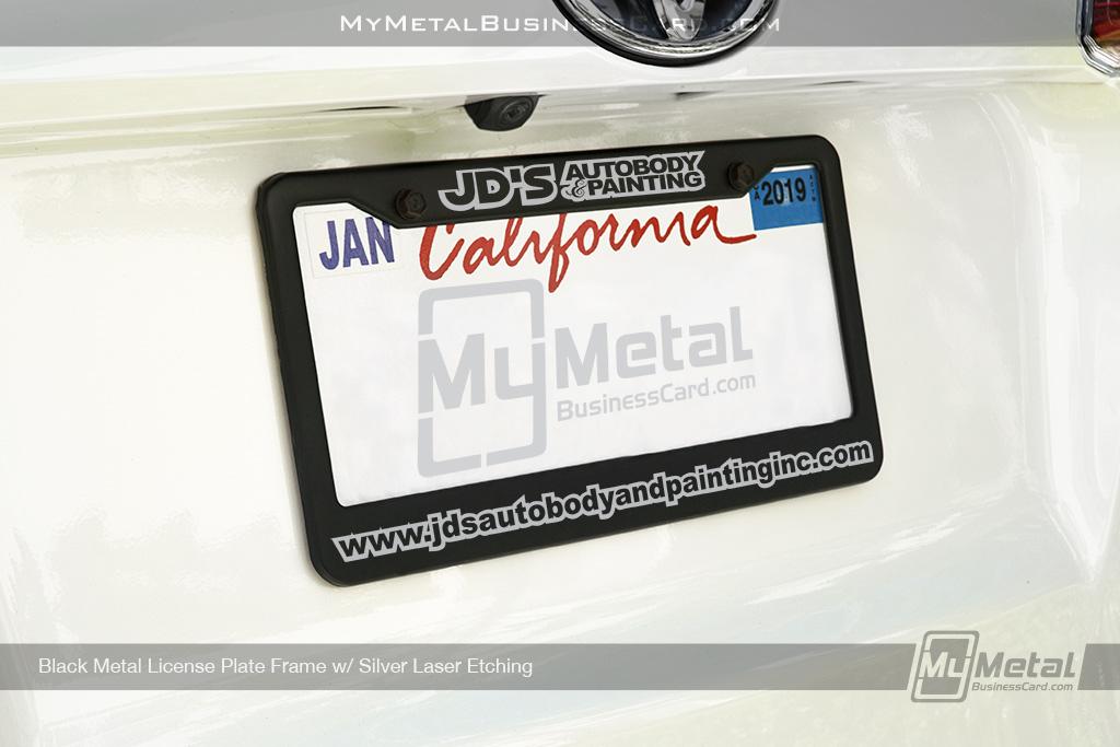 License-Plate-Frame-Black-Metal-Laser-Etched-Auto-Shop-Logo