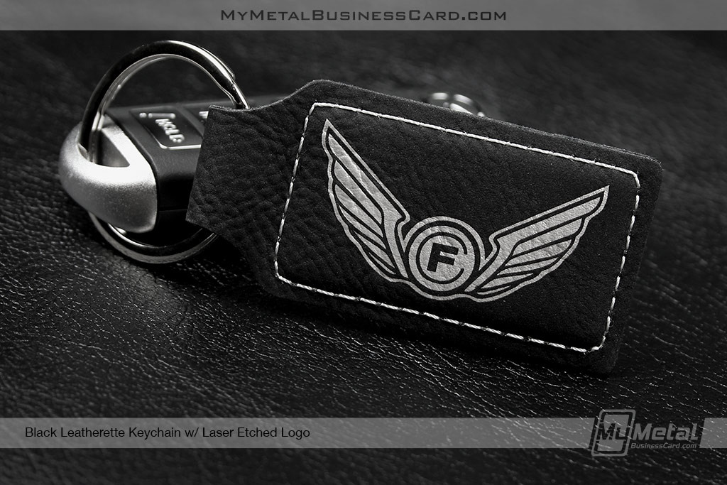 Black Leatherette Key Chain custom etched with wing logo