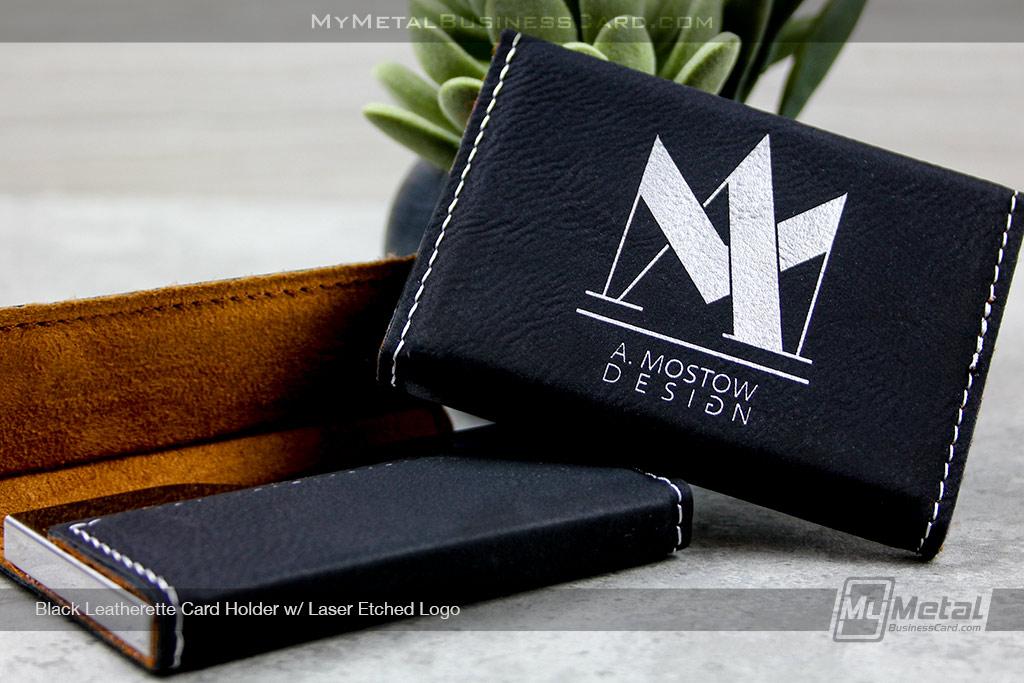Card-Holder-Black-Leatherette-With-Laser-Etched-Logo-For-Designer