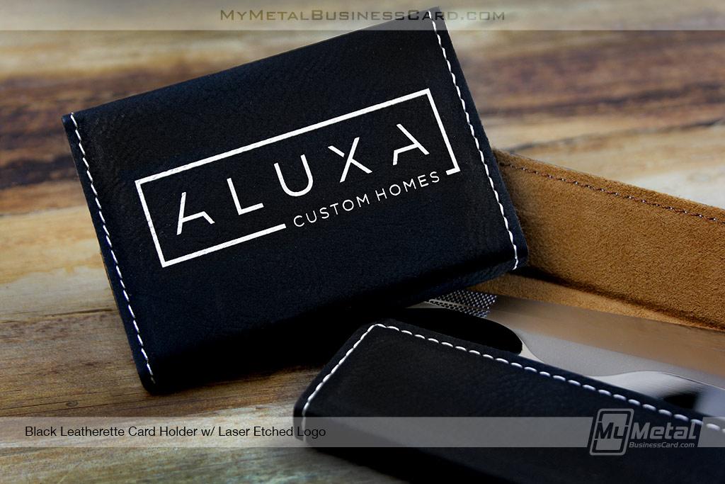 Card-Holder-Black-Leatherette-With-Laser-Etched-Logo-For-Custom-Home-Builder
