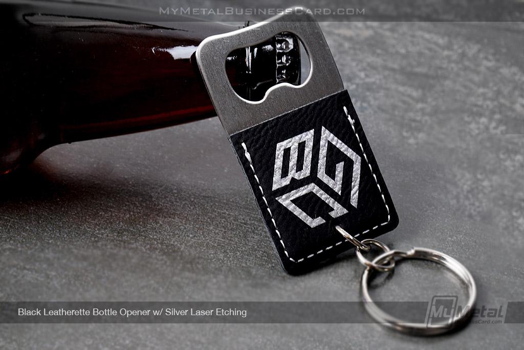 Black-Leatherette-Bottle-Opener-Silver-Laser-Logo