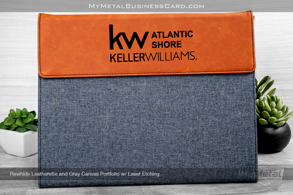 Rawhide-Leatherette-Gray-Canvas-Portfolio-Laser-Etching-Keller-Williams