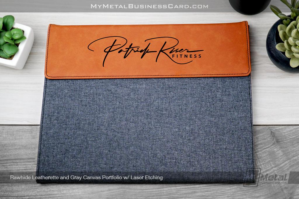 Rawhide-Leatherette-Gray-Canvas-Portfolio-Laser-Etching-Patrick-Riser-Fitness