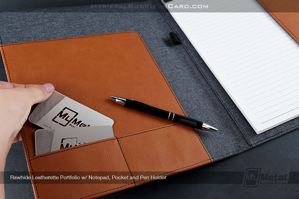 Rawhide-Leatherette-Portfolio-Cover-With-Poscket-For-Metal-Business-Cards