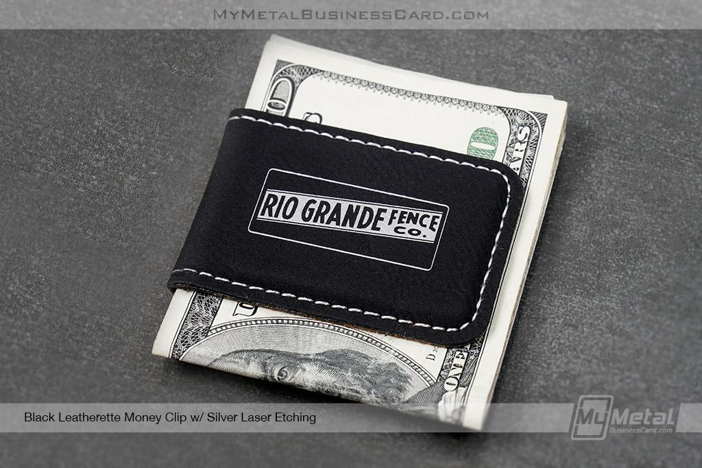 Black-Leatherette-Money-Clip-Rio-Grande-Fence