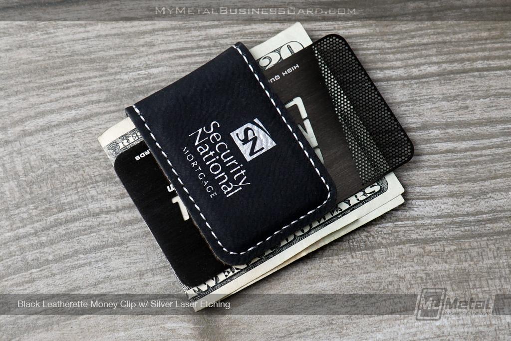 Black-Leatherette-Money-Clip-Security-National-Laser-Etched-Logo