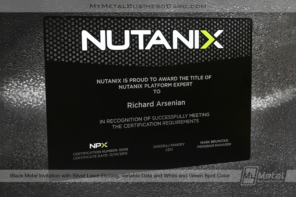 Black-Metal-Invitation-Award-Plaque-With-Variable-Data-Laser-Etching-Cutouts-White-Green-Spot-Color