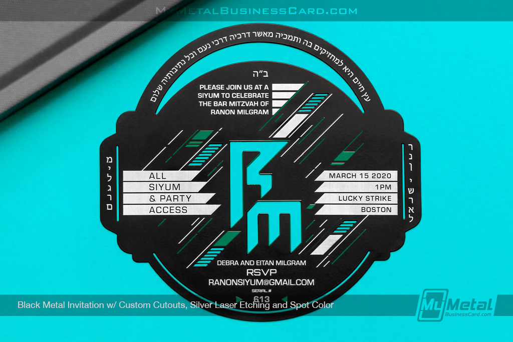 Black-Metal-Invitation-Custom-Cutout-Silver-Laser-Etching-Spot-Color