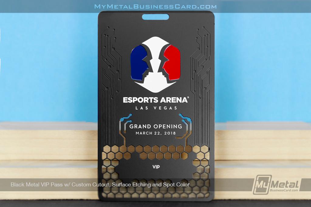 Black-Metal-VIP-Pass-Custom-Cutout-Surface-Etching-Spot-Color