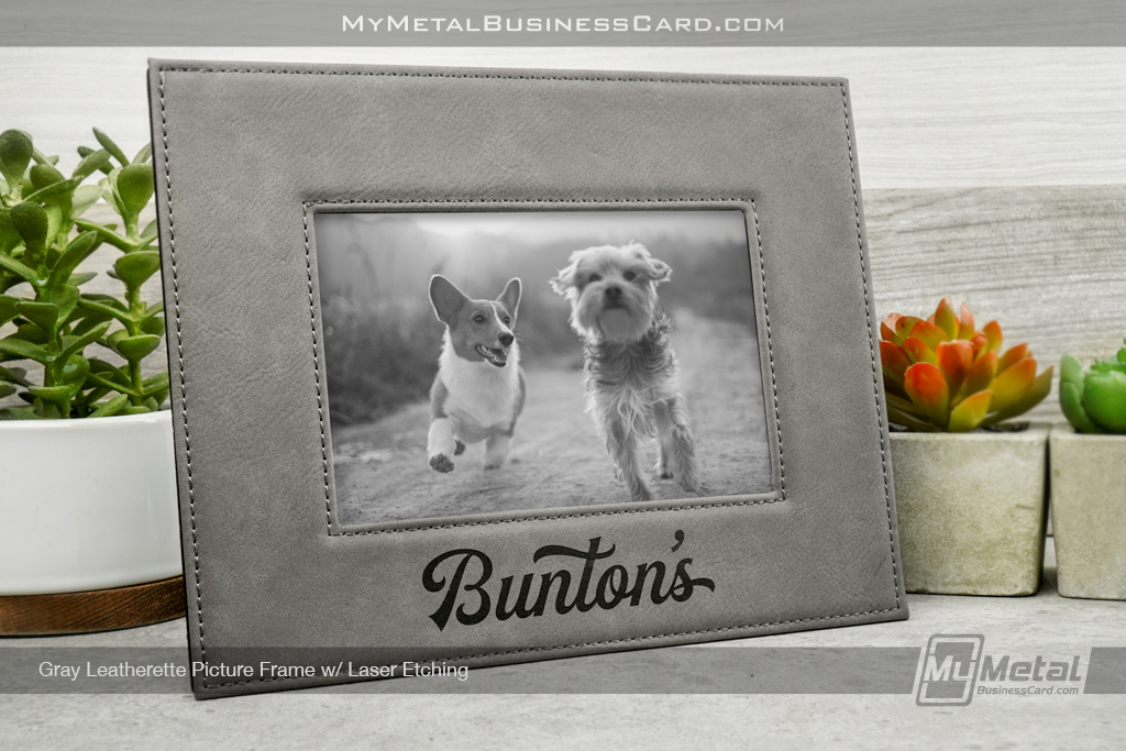 GrayPicture-Frame-With-Silver-Laser-Etching-Burton-Dog