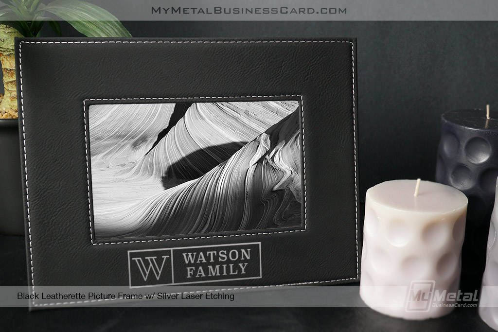 Black-Leatherette-Picture-Frame-With-Custom-Silver-Laser-Family-Logo