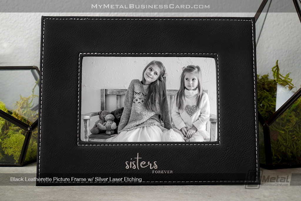 Black-Leatherette-Picture-Frame-With-Custom-Silver-Laser-Sisters-Logo