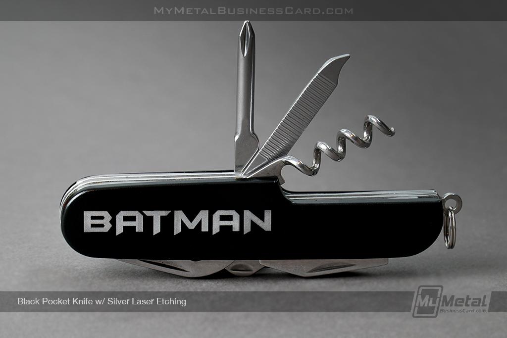 Black-Pocket-Knife-Batman-Silver-Laser-Etching
