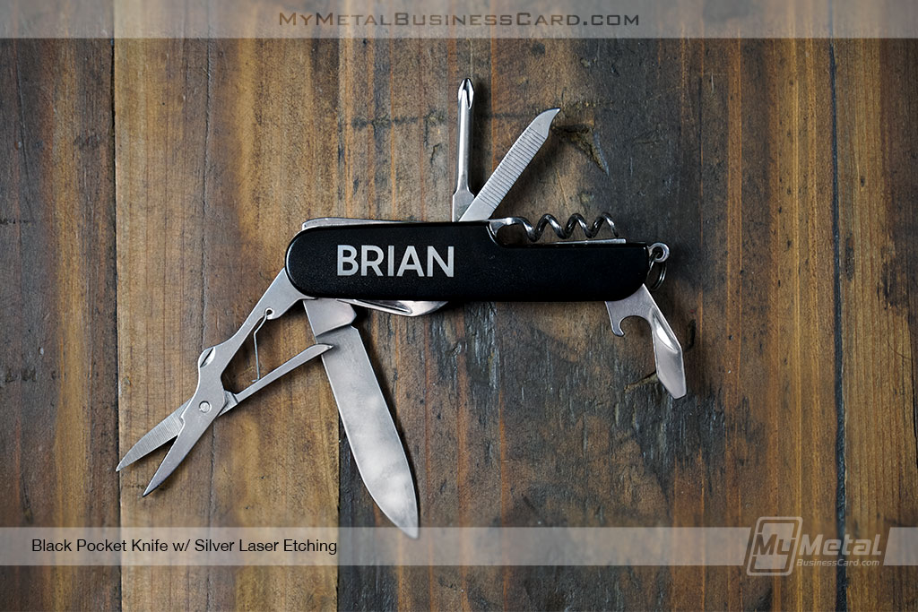 Black-Pocket-Knife-8-Functions-Silver-Laser-Etching-Custom-Name