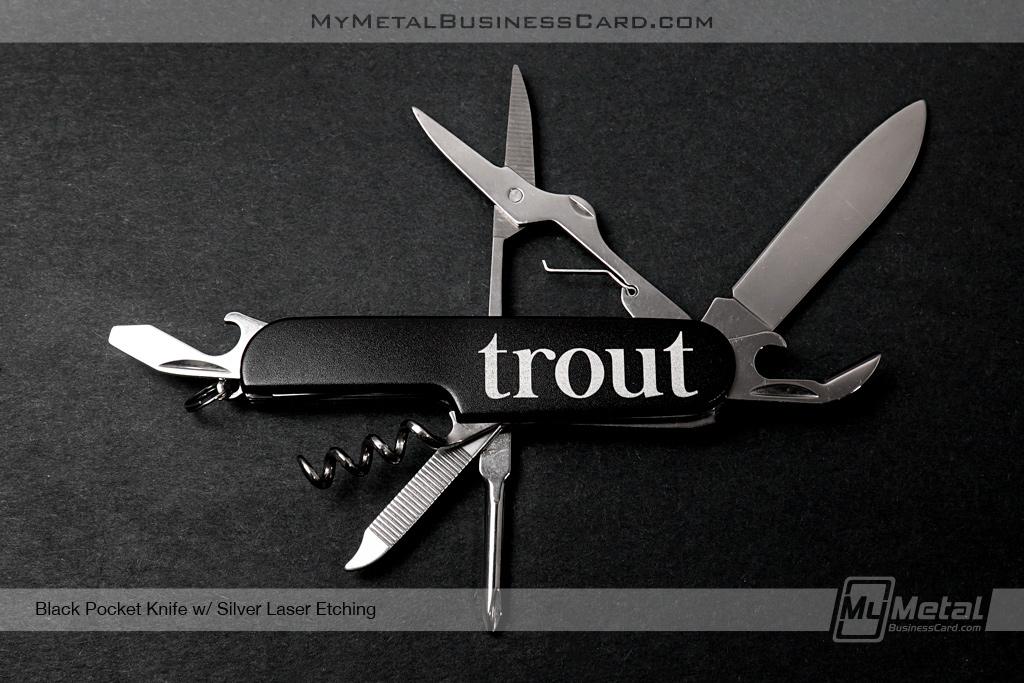 Black-Pocket-Knife-Trout-Silver-Laser-Etching