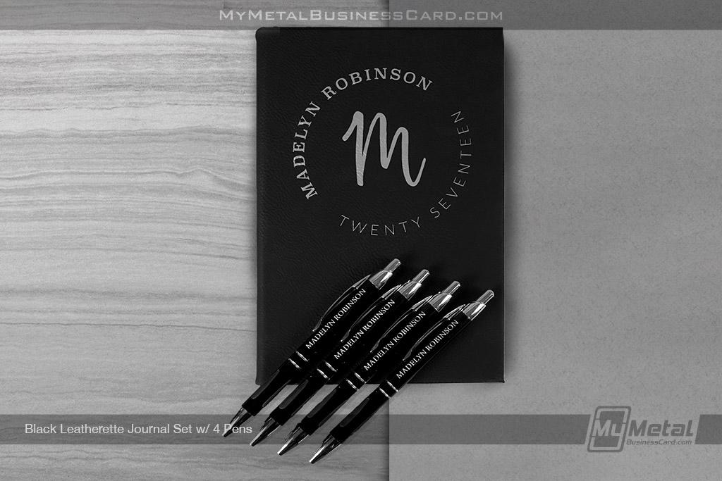 Black-Leatherette-Journal-Set-With-Four-Pens-Circular-Script-Logo