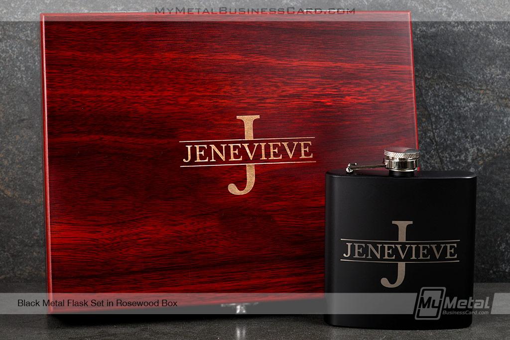 Black-Metal-Flask-Set-With-Rosewood-Box-Initial-Logo