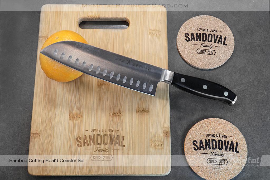 Bamboo-Cutting-Board-Coaster-Set-Family-Logo