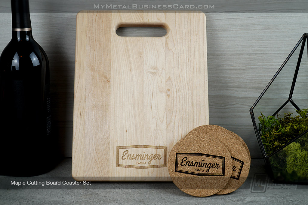 Maple-Cutting-Board-Coaster-Set-With-Etched-Family-Logo
