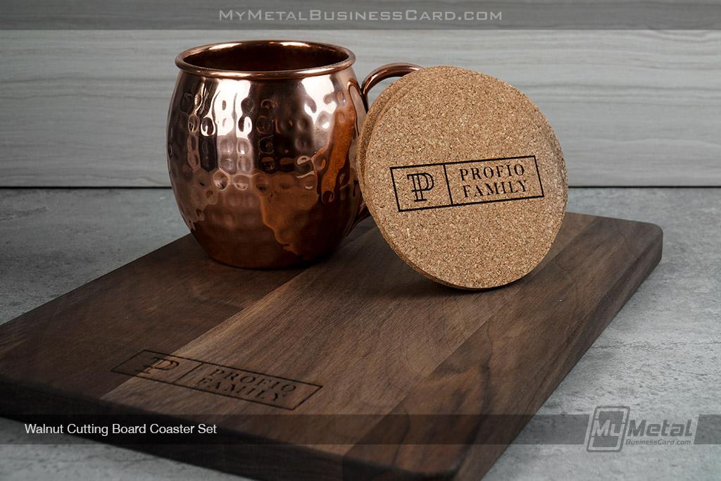 Walnut-Cutting-Board-Set-With-Coasters-Elegant-Family-Logo