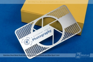 Stainless steel card for photographer business with custom see-through areas and color