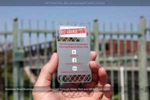 Stainless steel meatl business card featuring chain link fence etched area