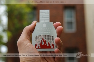 custom shaped metal business card in the shape of a chimney