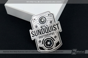 Vintage Camera shaped stainless steel metal business card for photographer