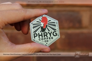 Hexagon shaped stainless steel business card for cold brew coffee brewers