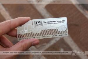 Custom shape stainless steel metal business card in semi truck shape for trucking agency