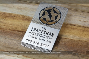 Stainless steel metal business card for electrical contractor with lightnigbolt logo and custom colors