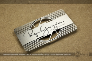 Innovative photographer business card with stainless steel metal finish and camera shutter cutout design