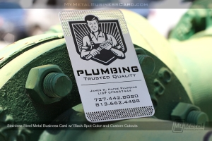 Pulmber logo on a stainless steel metal business card with black spot color