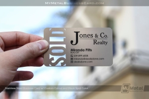 SOLD Stainless Steel metal business card for Realtor with custom realty design