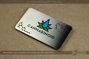 Brushed Finish Stainless Steel Metal Business Card for Cannabinoid Water with Custom Cutouts and 4 Color Printing