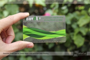 Stainless Steel Card with Innovative Full Color Printed Logo and Sound Wave details